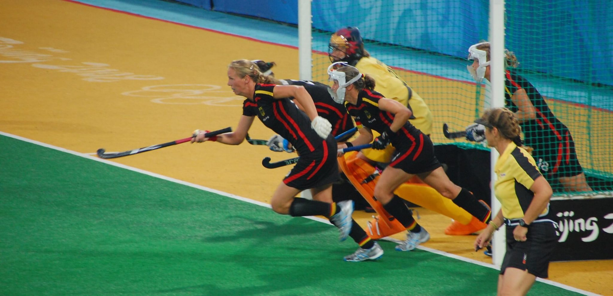 A game of field hockey underway at the 2008 Beijing Olympics