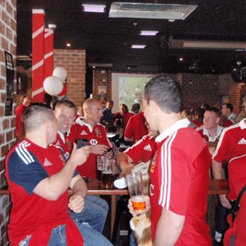 Lions fans enjoying a beer in Brisbane