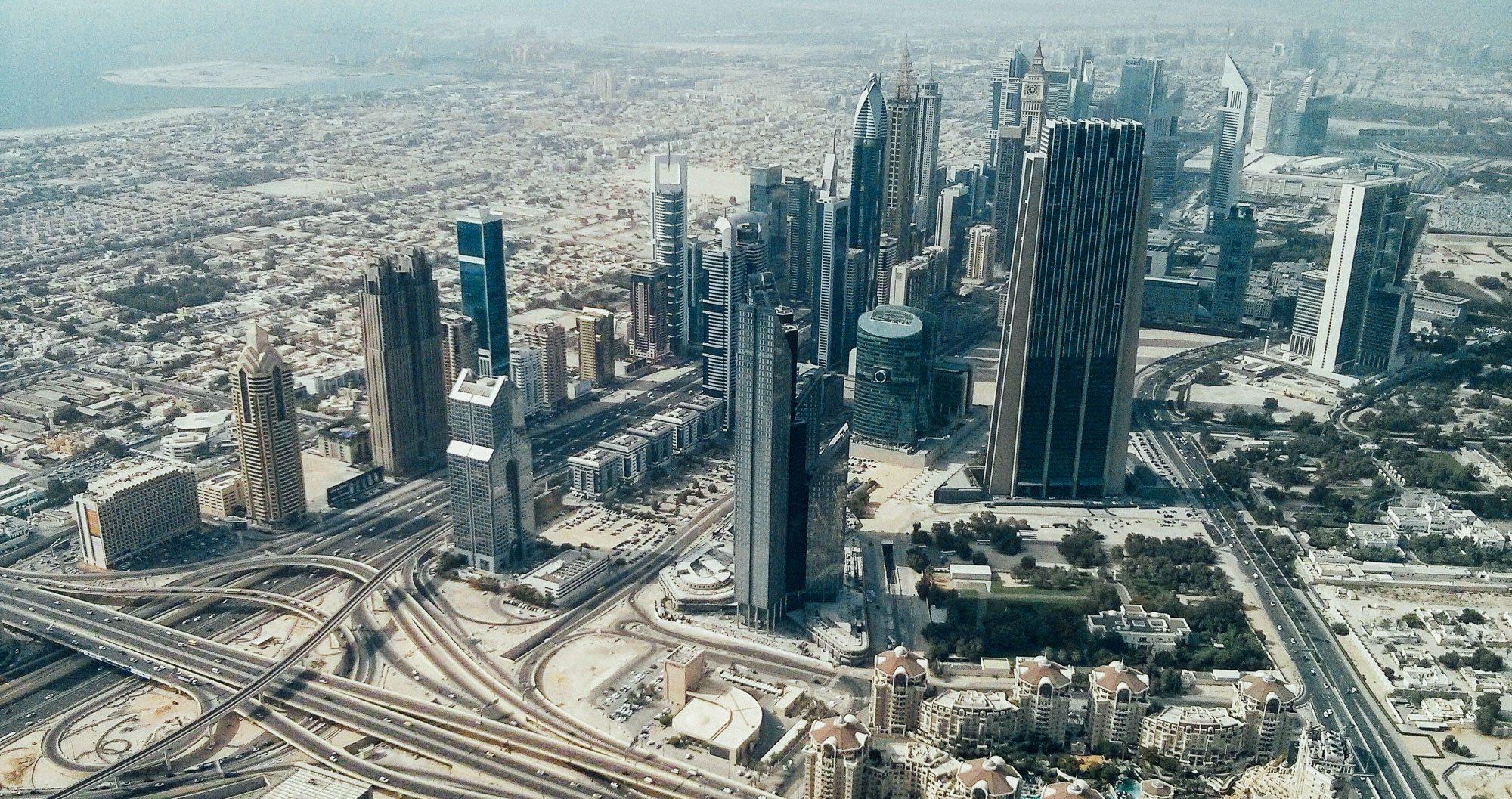 An arial shot of Dubai's skyscrapers