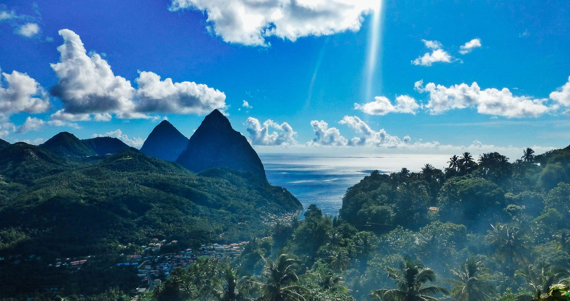 A view of the beach in St Lucia from the top of a hill
