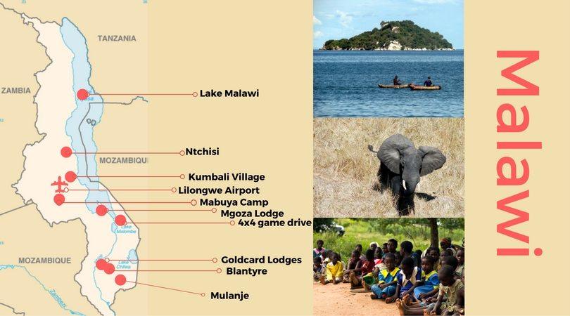 Malawi itinerary map