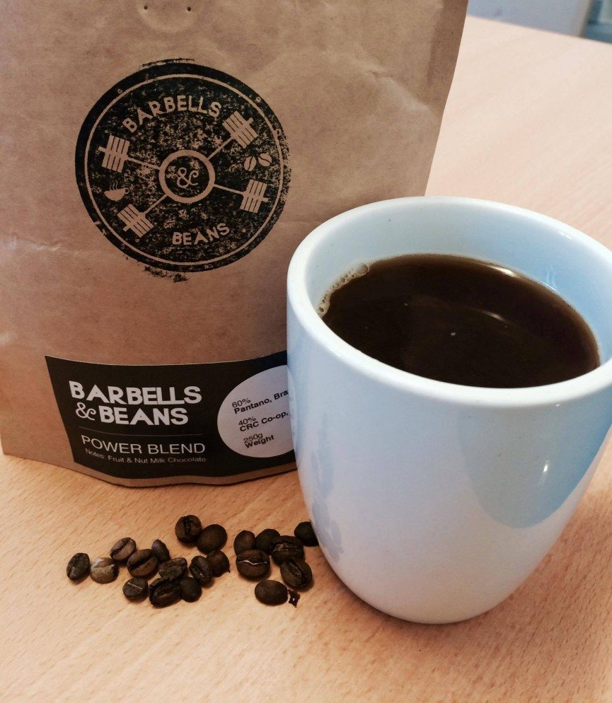 Barbells and beans coffee