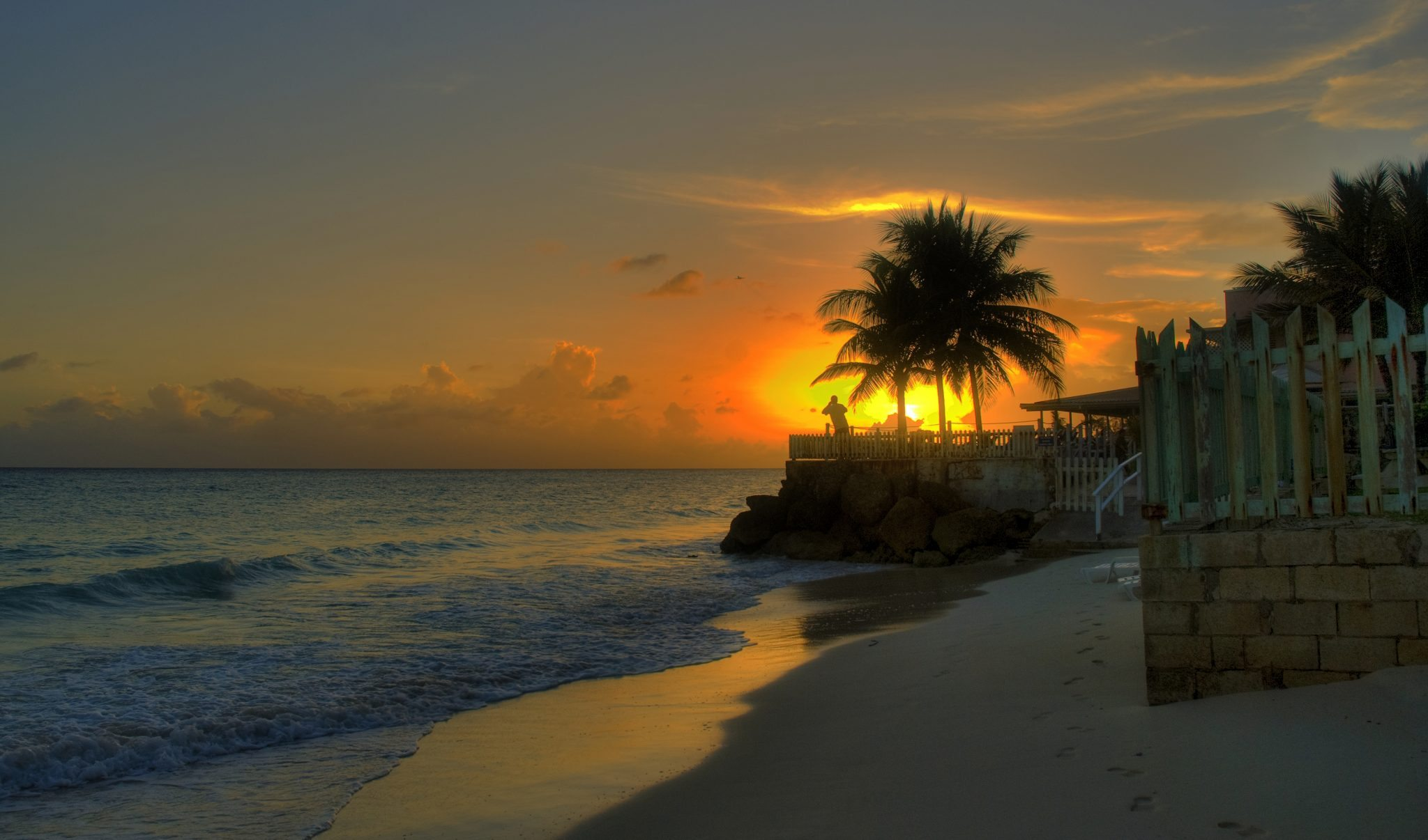 Barbados beach sunset