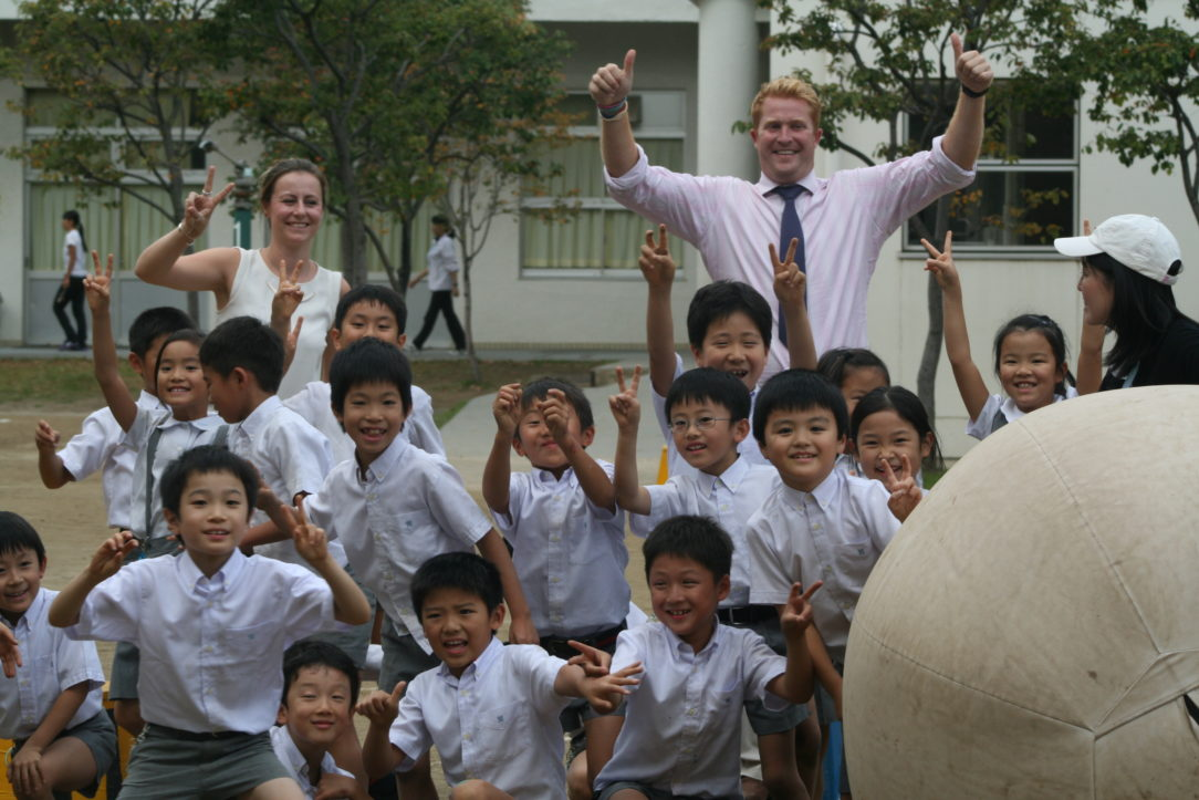 Patrick Foster taking part in a Japanese school sports day