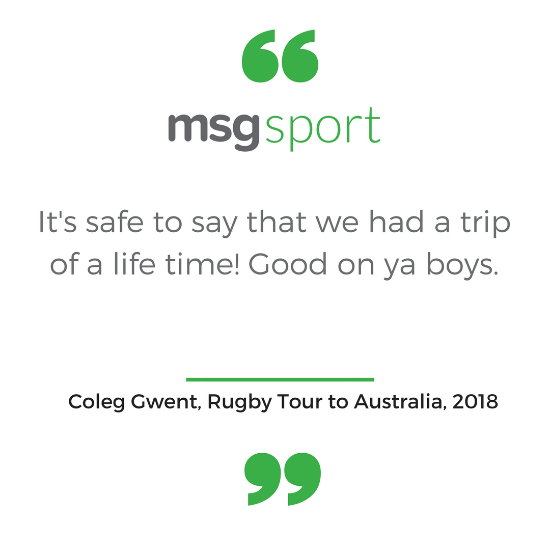 Coleg Gwent Rugby Tour to Australia