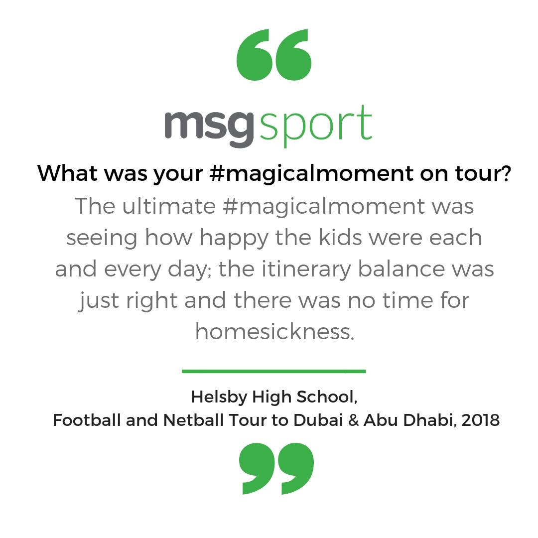 MSG Sport Testimonials Helsby High