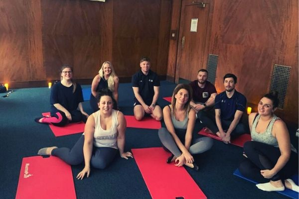 MSG Tour doing yoga with Derby County Community Trust