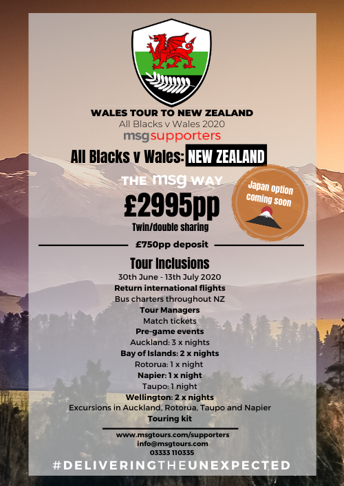 Wales tour to New Zealand Summer 2020
