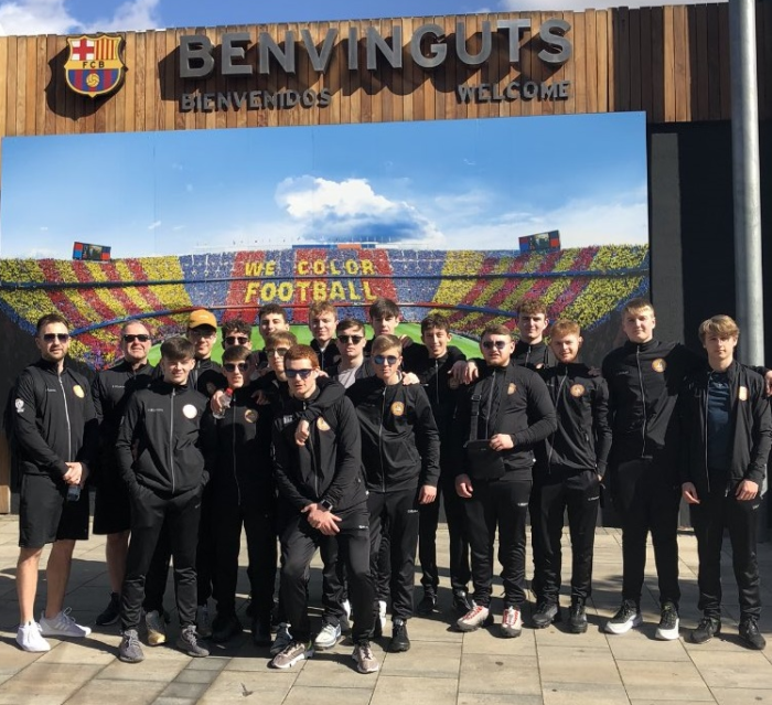 Merchant Taylor's at FC Barcelona on their football tour to Barcelona