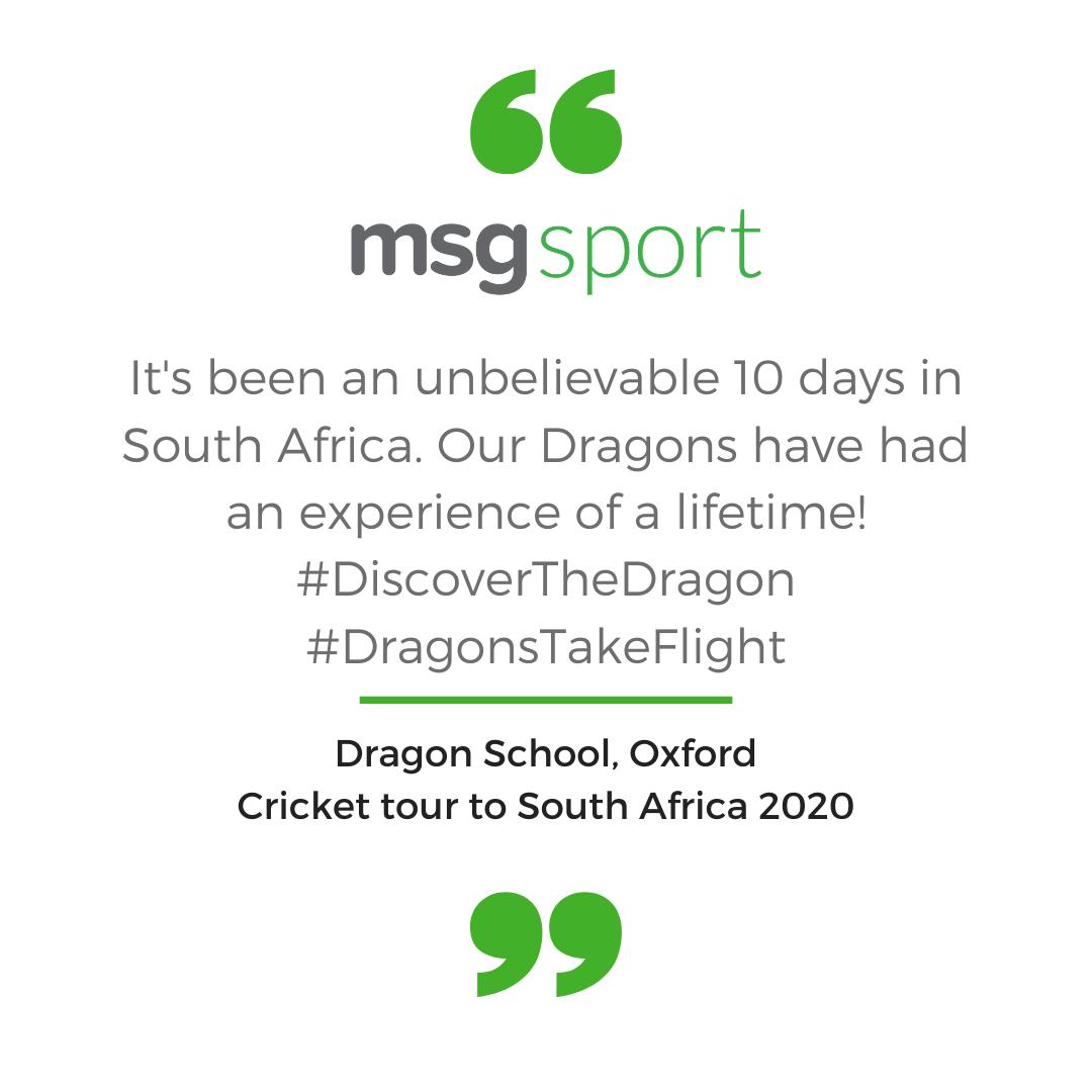 Dragon School testimonial on cricket tour to South Africa