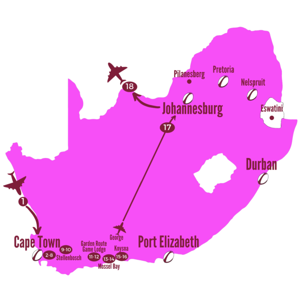 Family of Lions South Africa 2021 Tour Map