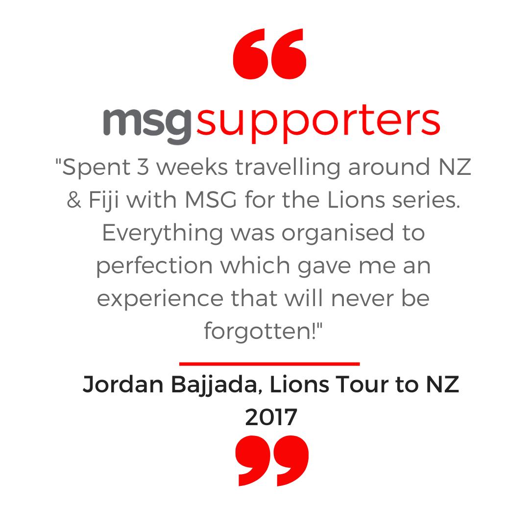 Jordan Bajjada testimonial from the Lions Tour to NZ in 2017