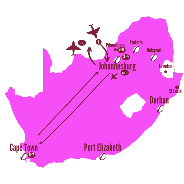 The Giraffe Itinerary Map South Africa 2021 Lions Supporters Package