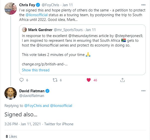 David Flatman supports the Lions Fans' petition