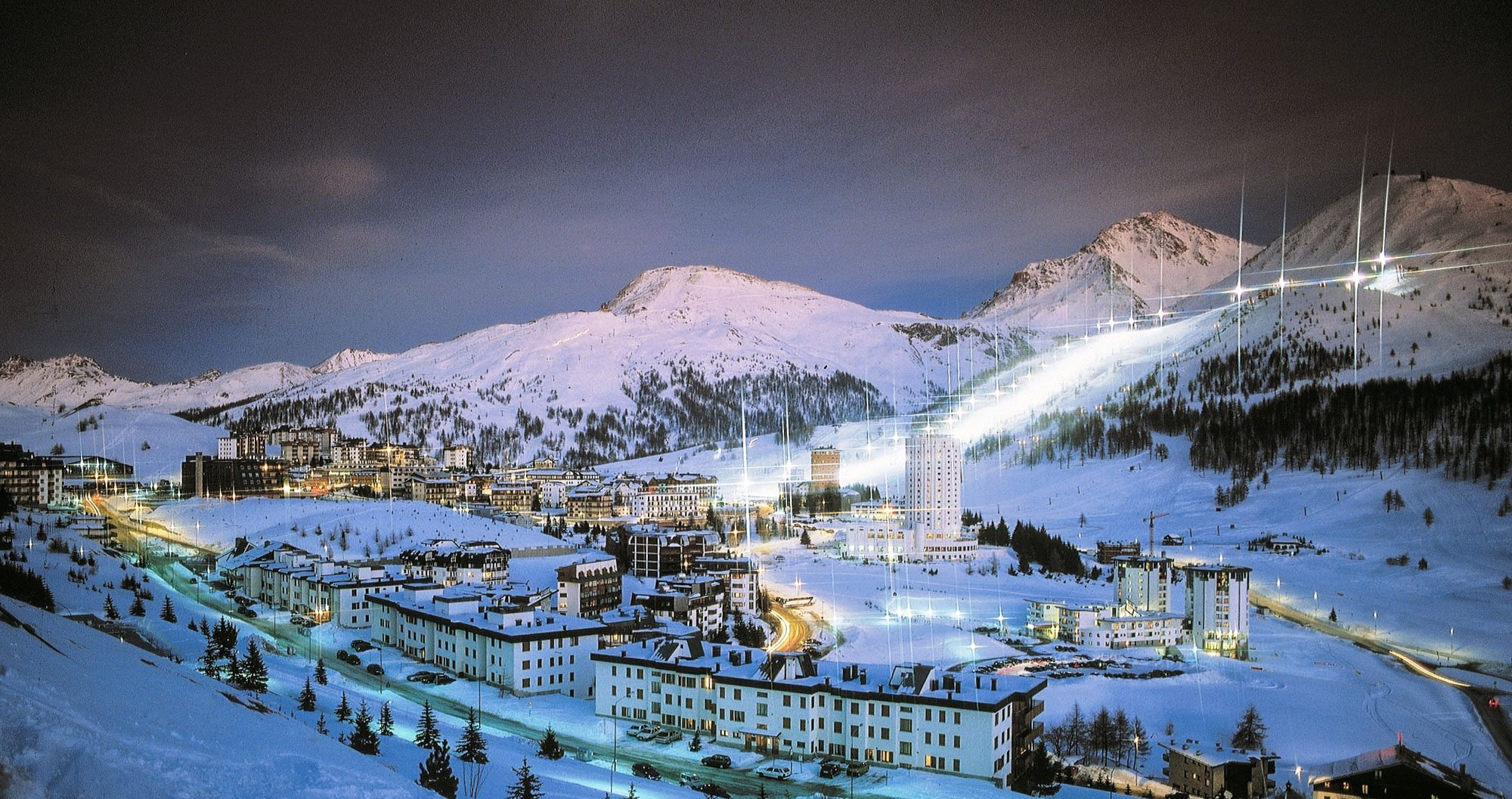 Italy ski resort at night